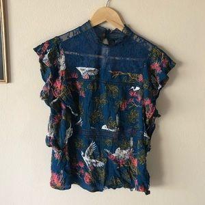 Express Blue High Neck Crane Shirt M
